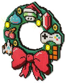 Pixellated 8-bit style plastic Christmas wreath