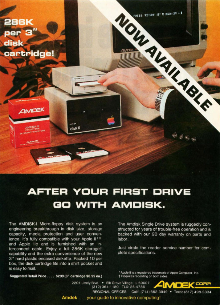 Magazine ad for Amdisk-I drive