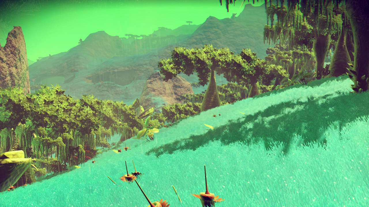Green blue hill with grass in NMS