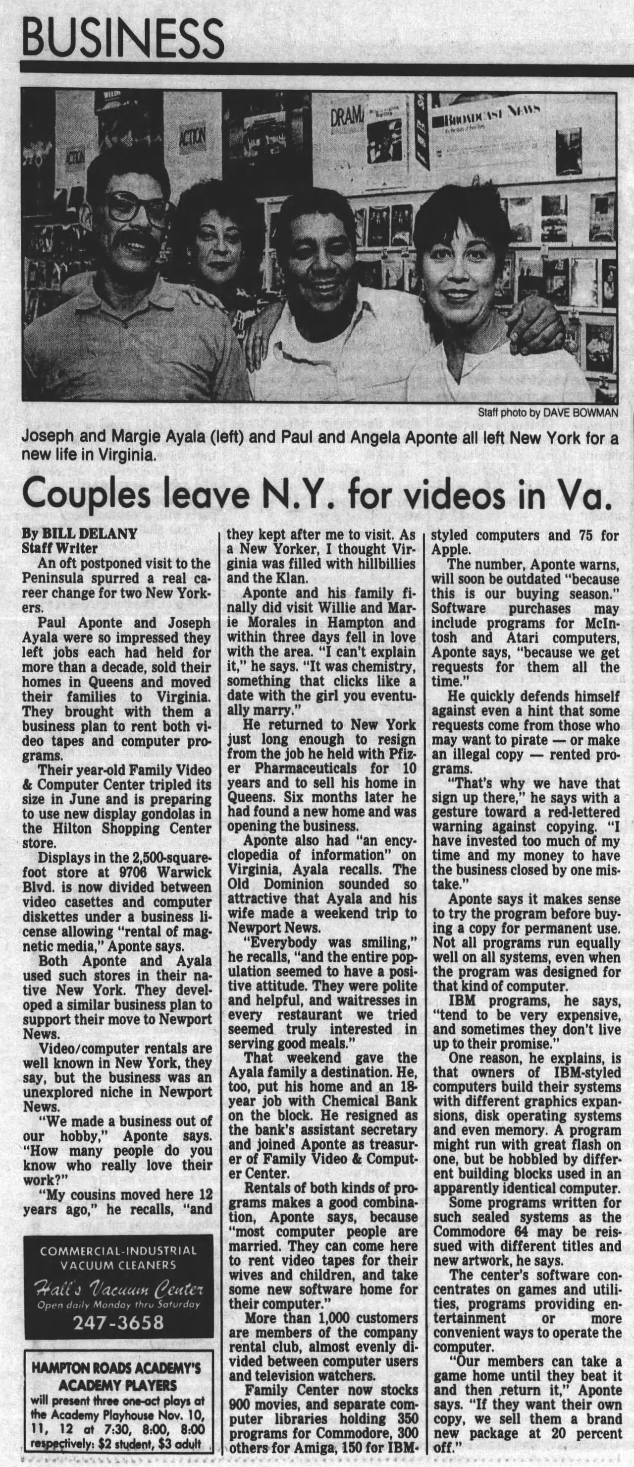 Daily Press writeup about the opening of Family Video & Computer Center (1988 scan)
