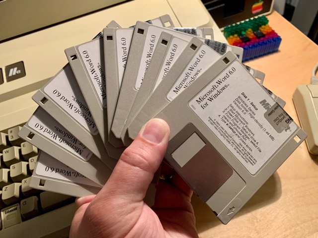 Nine floppies in hand, MS Word 6.0