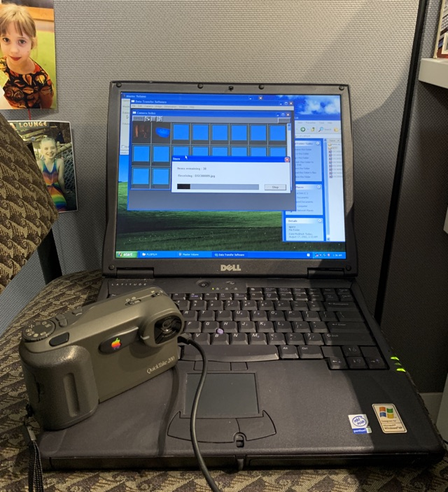 PC laptop with QuickTake 200 attached