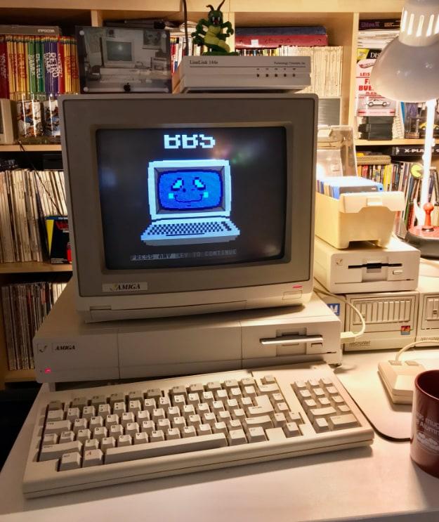 Amiga 1000 logged in to a telnet BBS