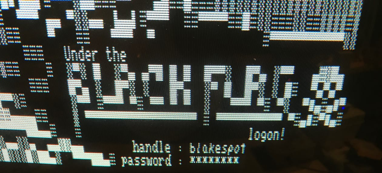 Black Flag BBS login screen screenshot